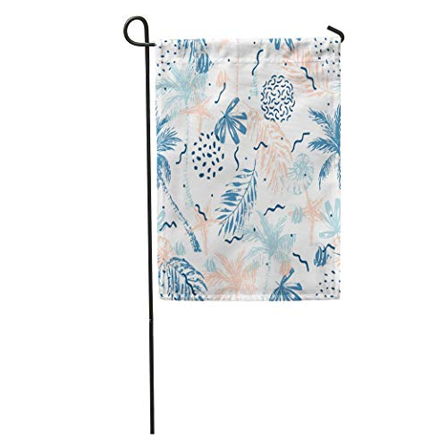 Semtomn Garden Flag Nautical Abstract Summer Beach Palm Trees Leaves Nautilus Seashell Fish Home Yard House Decor Barnner Outdoor Stand 28x40 Inches - Shell Nautilus House
