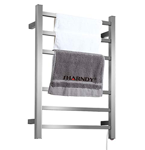 SHARNDY Electric Towel Warmers 3+3 Square Bars ETW13C Brush Nickel Towel Racks Bathroom 68W UL Listed