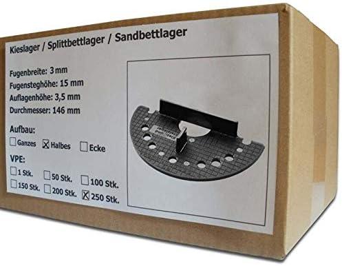 Splittbettlager Sandbettlager Kiesbettlager 250 St/ück SANPRO Halbes Kieslager