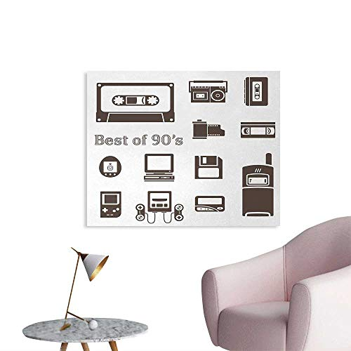 Tudouhoho 90s Custom Poster Gadget of 90s Icons Pattern with Desktop Computer Video Game Joystick Nostalgia Theme Print Wallpaper Brown W32 xL24