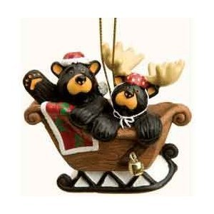 Bearfoots Bear Sleigh Ride (Bear Ornament)
