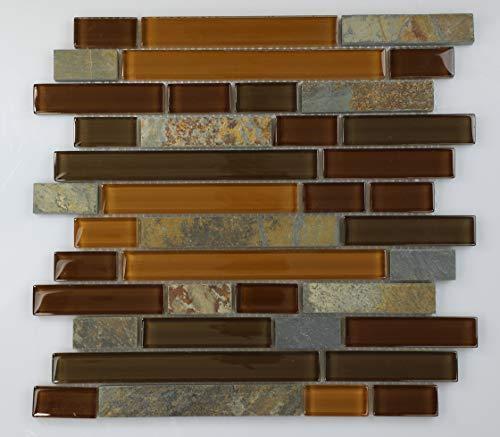 GSL Series Random Brick Glass Mosaic Slate/Copper/BRWN Mix, 12x12 Sheet