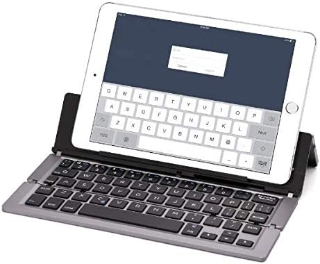 Portable Aluminum Folding Bluetooth Keyboard Foldable Compatible with iPhone Xs max//x//8//7 Plus//7//iPad 2018 9.7//Air 2 //Pro 9.7//iPad Mini 4 Samsung Android Tablet Smart Phone,Gray