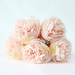 HOMZE Fall Decorations Flower Wedding Bouquet Peony Dahlias Artificial Flowers Fall Vivid Fake Wedding Flower Bridal Bouquets Decoration Light Pink 12