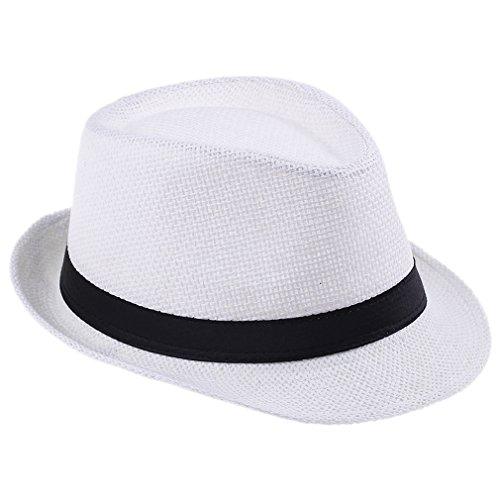 Elee Unisex Kids Straw Trilby Fedora Cap Jazz Hat Short Brim Sunhat (#1 White)