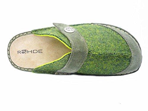 Rohde 6173 Cremona Zuecos para mujer cambio plantilla Verde