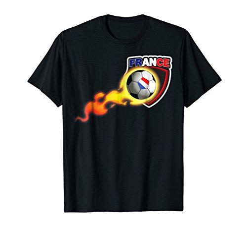 France Flaming Soccer Ball Football - Ball Soccer T-shirt Flaming