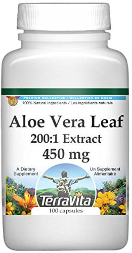 Extra Strength Aloe Vera Leaf 200:1 Extract - 450 mg (100 Capsules, ZIN: 514071) - 2 Pack by TerraVita (Image #1)