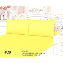 Tache 3 Piece 100% Cotton Bed Sheet Set Solid Banana Yellow (Fitted Sheet)-Full
