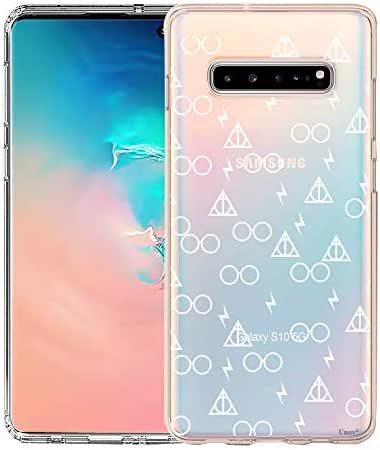 Unov Galaxy S10 5G Case Clear with Design Soft TPU Shock Absorption Embossed Pattern Slim Protective Back Cover for Galaxy S10 5G Version 6.7inch (Death Hallows)