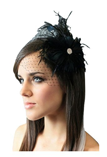 c9f479aa00a96 Buy S E Women s Elegant Black Feather Bridal Wedding Hair Clip Fascinator  Face Veil Headpieces Online at Low Prices in India - Amazon.in