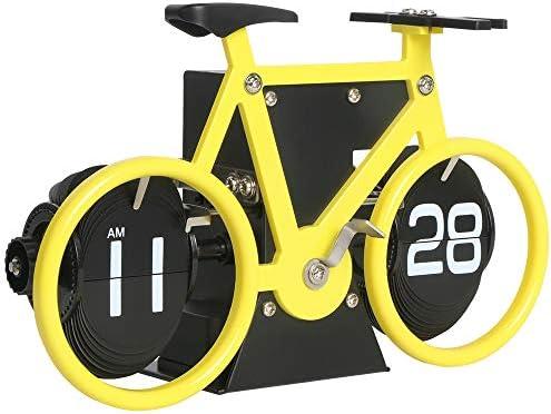 MIDCLOCK Bicycle Flip Clock, Retro Desk Clock, Flip Number Clock for Home Decor, Cool Unique Auto Flip Down Clock, Battery Powered Lemon Yellow