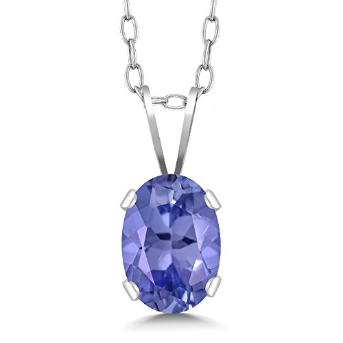 - 0.75 Ct 7X5mm Oval Shape Blue Tanzanite 925 Sterling Silver Pendant with 18