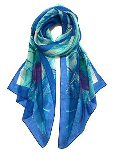 Z&HTrends Womens Genuine Silk Scarf (Small, Abstract Blue)