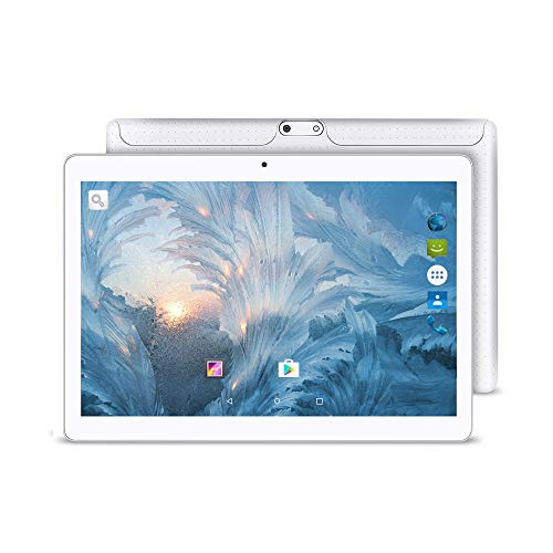 2019 Upgrade, YUNTAB 10.1 inch Android Tablet Smartphone, Unlocked 3G Supported, with Dual SIM Card Slots, 2GB RAM 16GB ROM, Quad Core CPU, IPS Touch Screen(White)