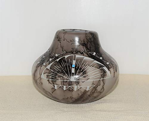 Quality Hand Etched Horse Hair Decorative Pottery Vase With Genuine Turquoise Stones