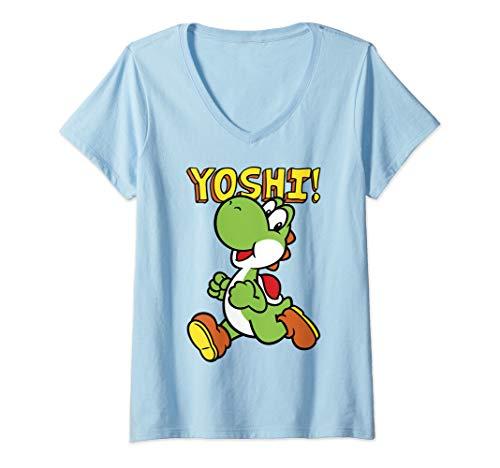 Womens Nintendo Super Mario Yoshi Intro Jump  V-Neck -
