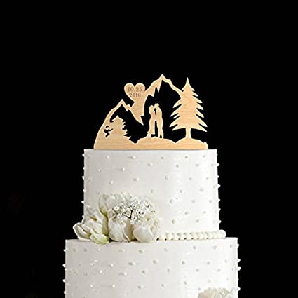 Amazon Com Mountains Cake Topper Mountain Wedding Cake Topper