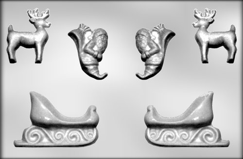 CK Products Santa, Sleigh, and Reindeer Chocolate Mold