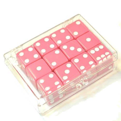 【在庫あり】 Set of 12 in Pink Opaque Pink dice in Acrylic Box - - White dots B0042QYWTI, イコー質店:c6ab0031 --- cliente.opweb0005.servidorwebfacil.com