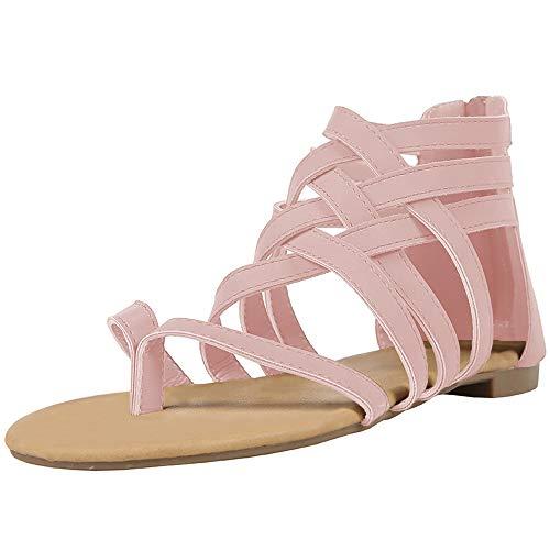 Pink Thongs Sandals Shoes - Xiakolaka Womens Strappy Sandals Flat Gladiator Cross Strap Thong Toe Shoes Pink 39
