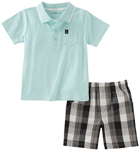 Calvin Klein Baby Boys 2 Pieces Bodysuit Shorts Set, Mint Green, 18M