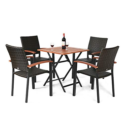 Thaweesuk Shop 5pcs. Outdoor Dining Table& Chair Set Premium Folding Table 4 Stackable Chairs PE Rattan Aluminum Tube Eucalyptus Wooden Unfold Size 27.5