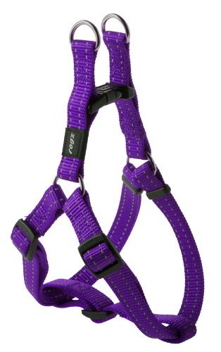 Reflective Adjustable Dog Step in Harness for Medium Dogs; matching collar and leash available, Purple