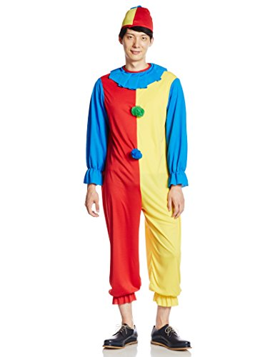 Cool Clown Costume (Classic Clown Adult Costume, Blue, Yellow & Red, Standard Size-fits up to 44)