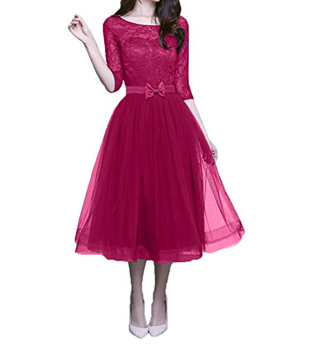 Wadenlang Partykleider Linie Charmant Neu Spitze Abendkleider Pink Lang Damen 2018 A Dunkel Ballkleider Promkleider wq4YUzw