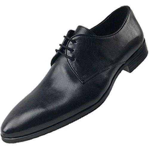 CAPRIUM Herren Leder Derby Schnürhalbschuhe Business Schuhe Premium Qualität, Modell MANCHESTER Schwarz