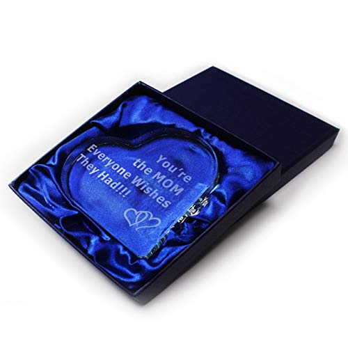 Gift for Mom You're the MOM Everyone Wishes They Had Mothers Day Birthday Best Present from Son Daughter Husband Crystal Glass Heart Sentimental Saying Engraved Unique Figurine Decoration Gift (Happy Birthday Plaque)