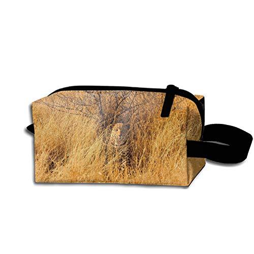 Leopard Savannah Pencil Case Pouch Waterproof Multi-purpose Storage Tote Tools Canvas Bag Cosmetic Makeup Bags with Zipper and Hanging Loop (Savannah Leopard)
