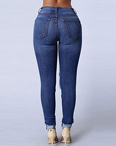 Jeans Grandi Del Leggings Ginocchio Slim Up Push Pantaloni Blu Pantaloni Stirata marino Strappati Elastici Donne RqBwdq