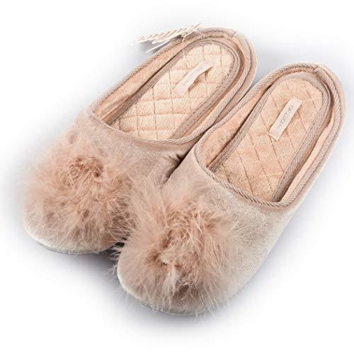 HALLUCI Women's Cozy Velvet Memory Foam House Slippers w/Non Slip Soles (9-10 B(M) US, Pink) by HALLUCI