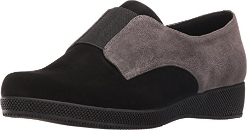 VANELi Women's Alfi Black Suede/Grey Suede/Black Elastic Loafer 8.5 M (B)