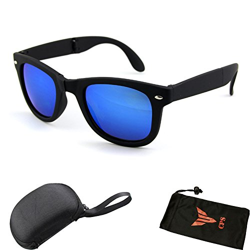 Fordable Folding Pocket Retro Mirror Wayfarer Compact Men Women Sunglasses + Free Sunglasses Case - Sunglasses Discount