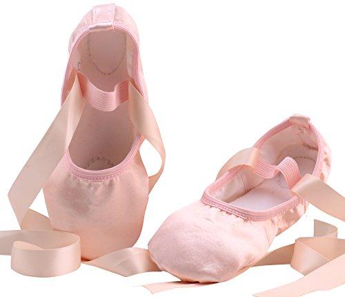 LONSOEN Ballet Slipper Shoes Satin Ribbons Ballerinas Dance Flats for Girls SHC553 Nude CN29