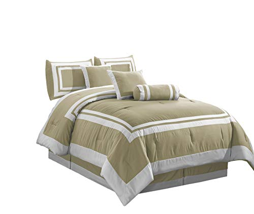 Chezmoi Collection Caprice 7-Piece Square Block Framed Hotel Style Bedding Comforter Set (King, Taupe/White)