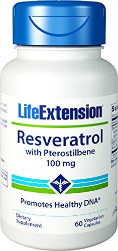 Resveratrol de extensión de vida con Pterostilbene 100 Mg, 60 cápsulas vegetales