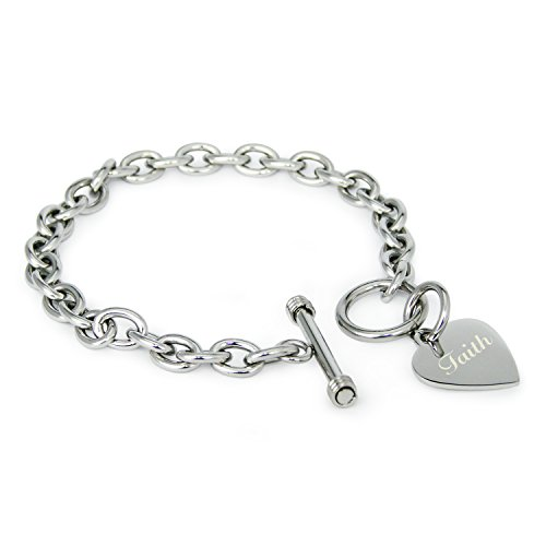 Tioneer Stainless Steel Engraved Faith Heart Tag Charm Bracelet