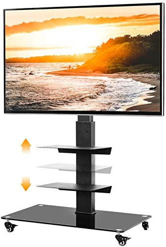 5Rcom Mobile TV Cart Portable TV Floor Stand Rolling with Lockable Wheels and Swivel Mount for 32 37 40 42 47 50 55 60 65 inch LED LCD Flat or Curved Screens TVs up to 110lbs Media Shelf Storage,Black