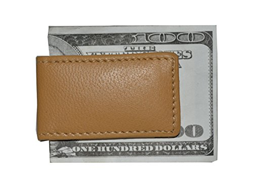 Men's New Leather Strong Magnetic Money Clip (Tan)