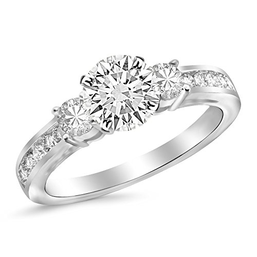 2.1 Carat 14K White Gold Channel Set 3 Three Stone Diamond Engagement Ring with a 1.5 Carat Moissanite Center
