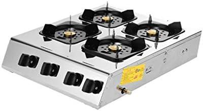 ホーム/商業18インチガスコンロホブガスストーブイオンセンシング保護、パルス電子点火ストーブを清掃するLPGステンレス鋼のトップ6密閉バーナー