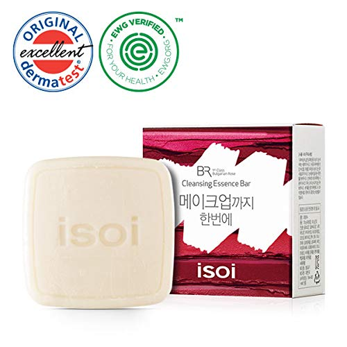 isoi Bulgarian Rose Cleansing Essence Bar 120g - Natural and gentle facial soap, removes make-up and impurities for soft and clean skin