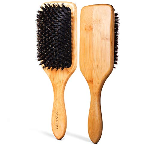 Natural Boar Bristle Hair Brush Men Women Kids | Pure Boars Bamboo Paddle Brush Mens | Eco Bore Wooden Detangling Hairbrush for Thin Dry Normal and Fine Hair | Restore Shine And Texture To Your Hair (Hair For Paddle Brush Natural)