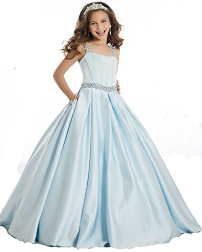 Little Gils Satin Beaded Straps Floor Length Princess Pageant gowns 8 US Blue