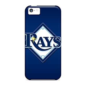 Perfect Hard Phone Cover For Iphone 5c With Customized Beautiful Tampa Bay Rays Skin CharlesPoirier
