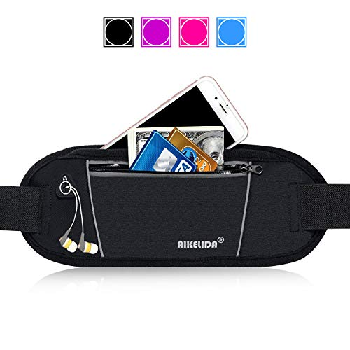 AIKELIDA Running Belt/Fanny Pack/Fitness Belt/Waist Pack for iPhone, Samsung Edge/Note / Galaxy - Men, Women During Sports Fitness, Running, Cycling, Hiking, Travel, Workout - Black